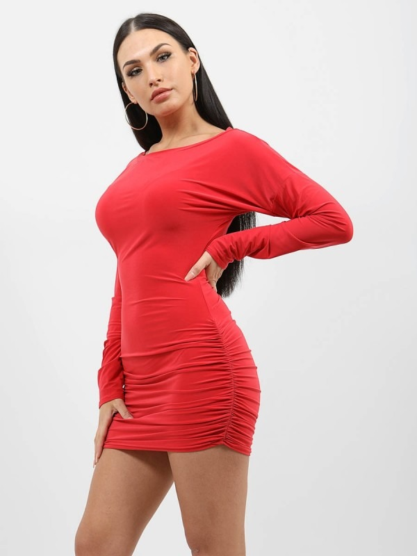 Scoop Neck Slinky Ruched Dress
