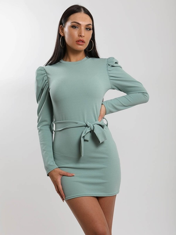 Puff Shoulder Belted Dress