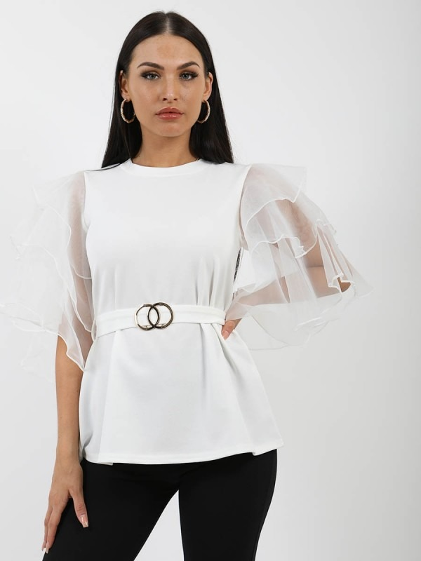 Frill Organza Sleeve Double Ring Belted Top