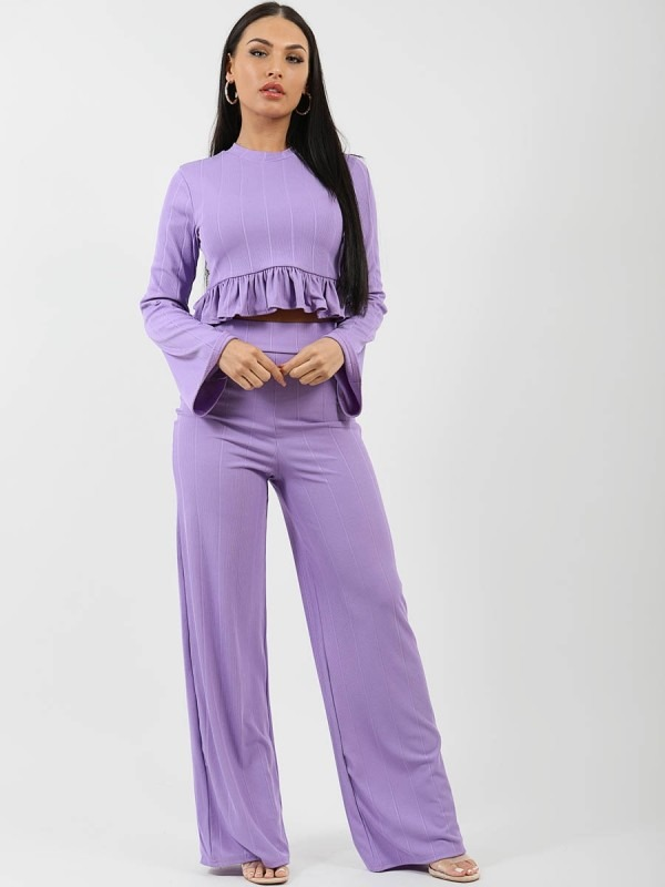Ribbed Frill Hem Top & Trouser Co-ord