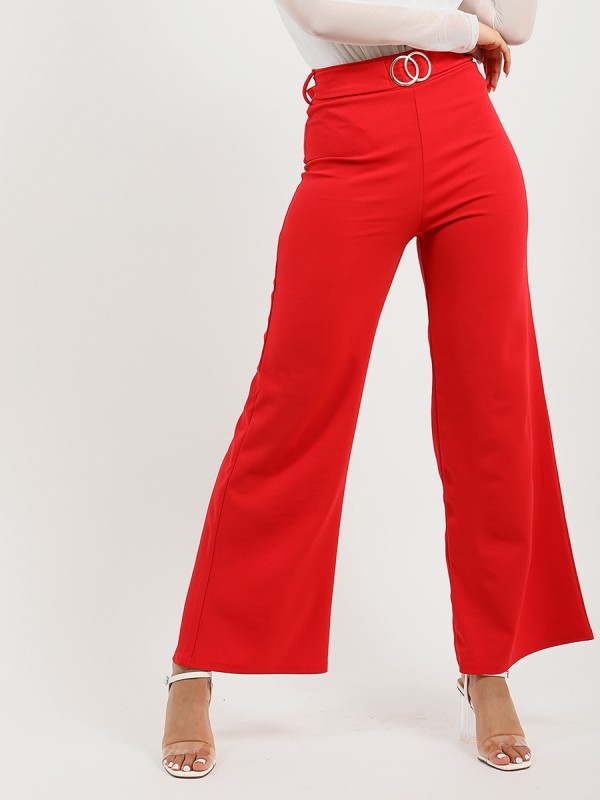 Double Ring Belted Wide Leg Trouser