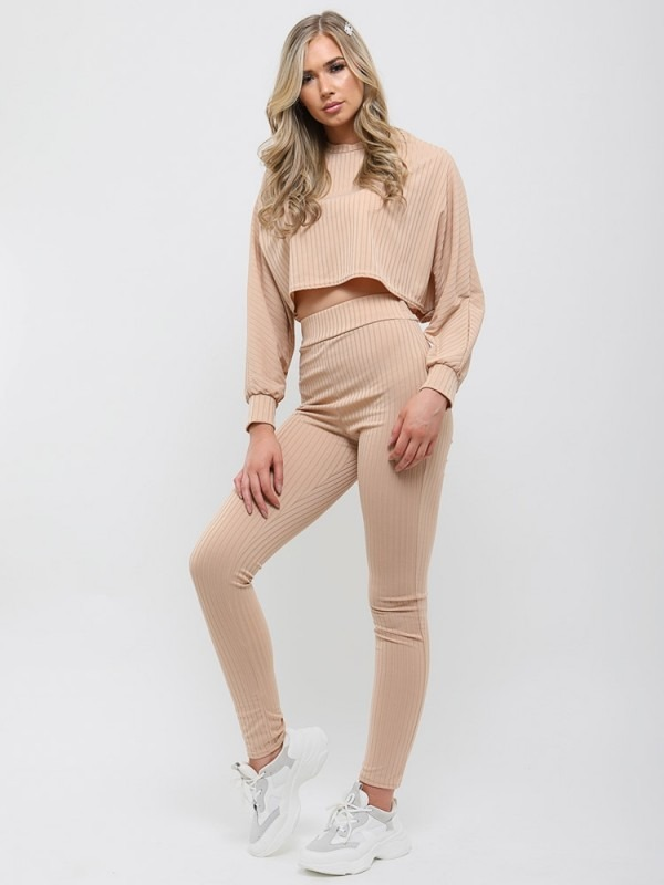 Ribbed Baggy Crop Top & Trouser Co-ord