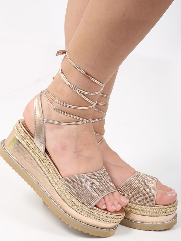 Diamante Embellished Lace Up Espadrille Wedges