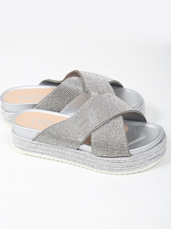 Cross Strap Diamante Embellished Espadrille Sliders