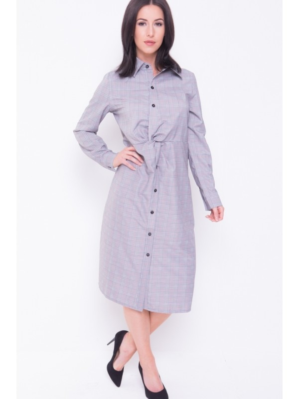 Multi Check Twist Front Long-Line Shirt Dress