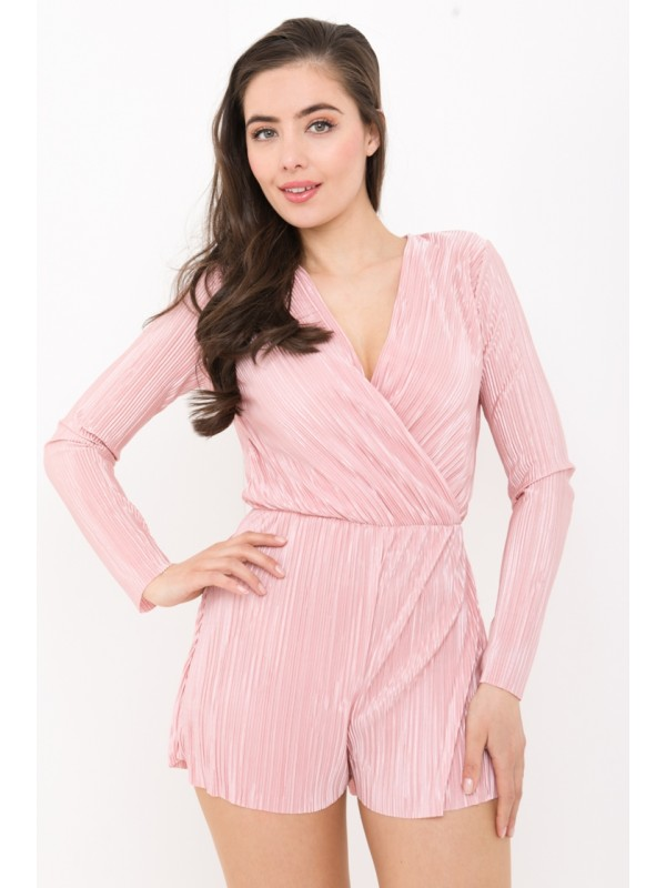 Pleated Wrap Front Romper