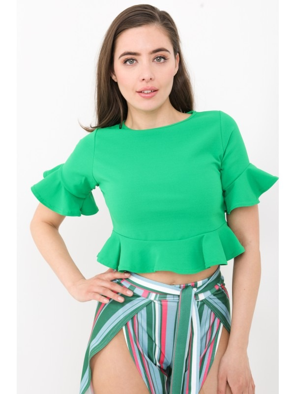 Frill Hem And Sleeve Crop Top