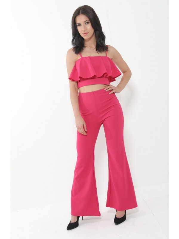 Frill Cami Top And Wide Leg Trouser Set