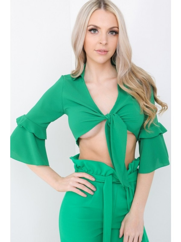 Tie Front Frill Sleeve Crop Top