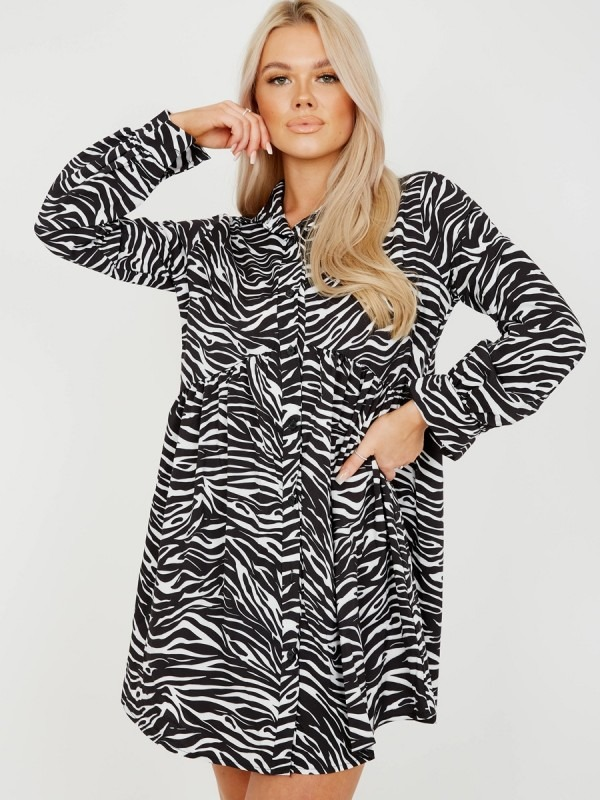 Oversized Zebra Print Shirt Dress