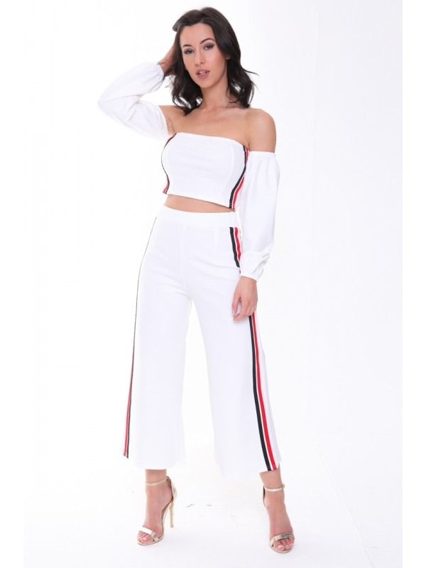Side Stripe Crop Top And Trouser Co-ord