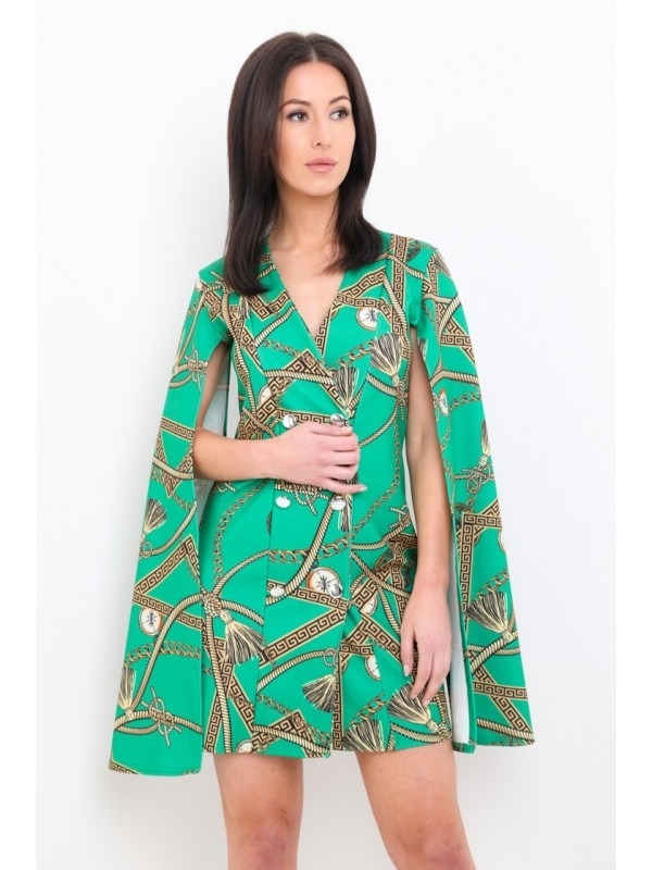 Olivia Baroque Print Split Sleeve Blazer Dress