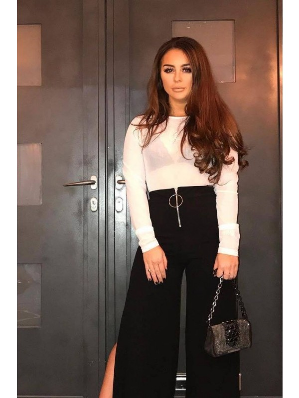 Side Split Zip Front Wide Leg Trousers