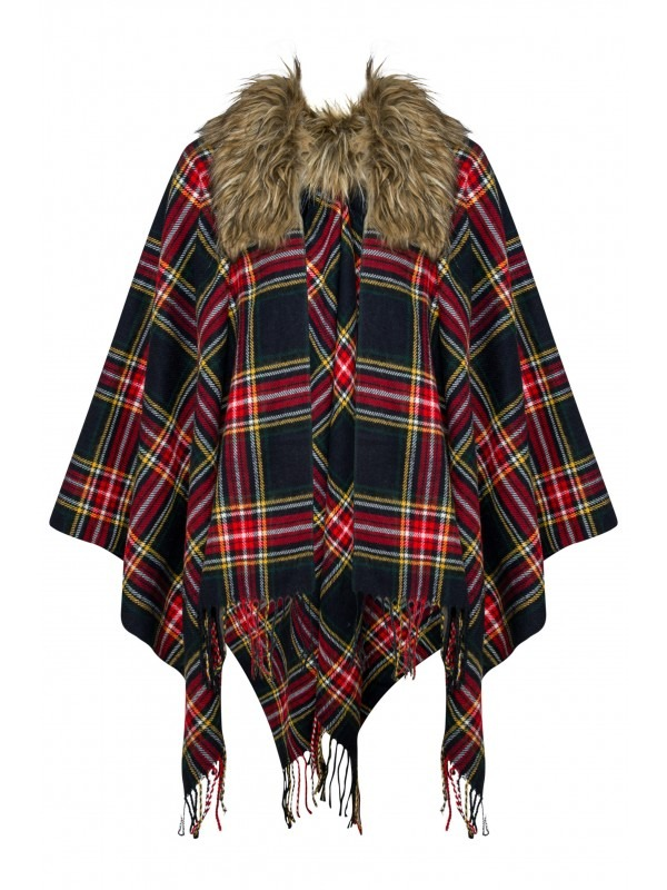 Faux Fur Collar Tartan Check Cape