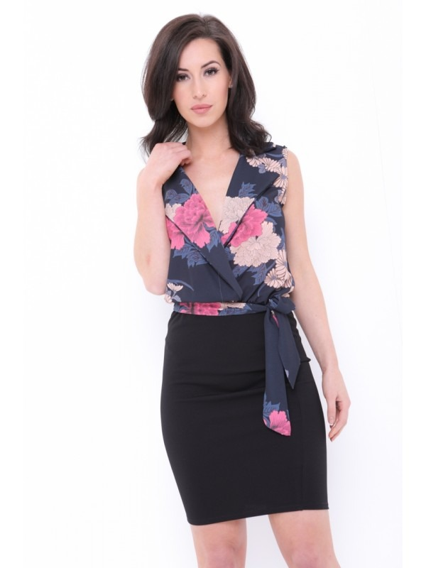 Wrap Front Floral Print Belted Dress