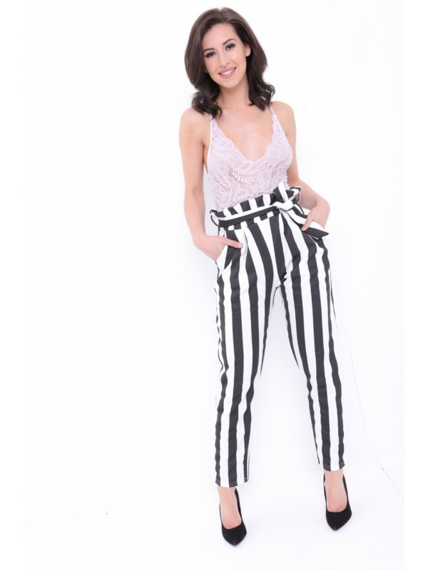 Wide Stripe Paper Bag Tie Waist Trousers