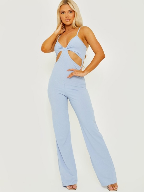 Cut Out Ribbed Cami Jumpsuit