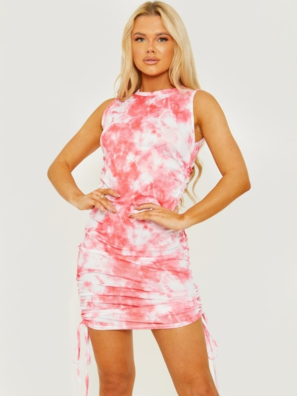 Tie-Dye Sleeveless Ribbed Ruched Dress