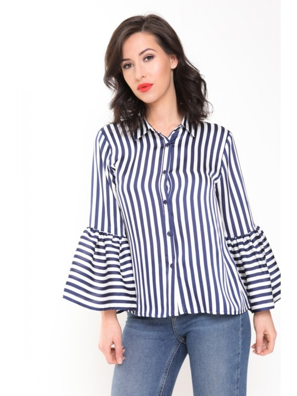 Black And White Stripe Bell Sleeve Satin Blouse