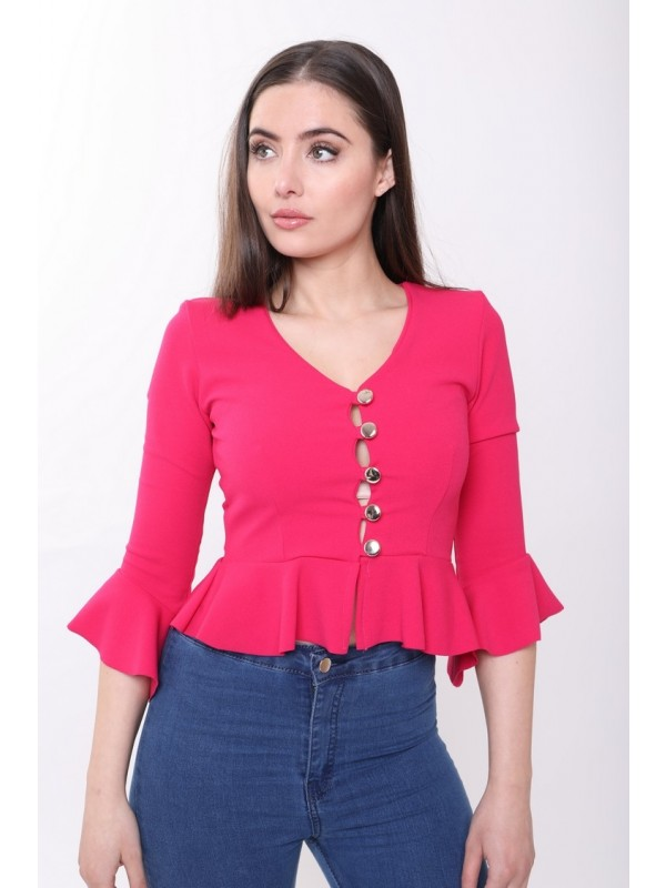 Button Up Peplum Top With Sleeves