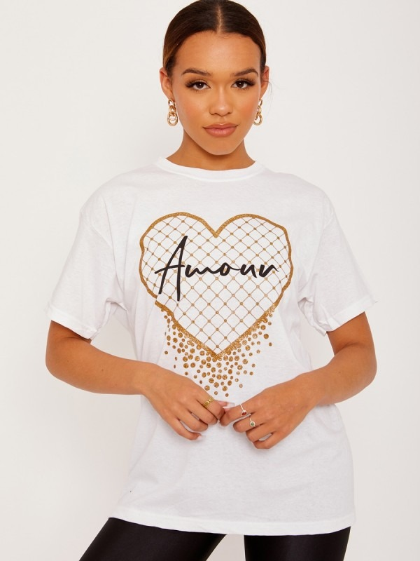 Amour Heart Graphic Printed T-Shirt
