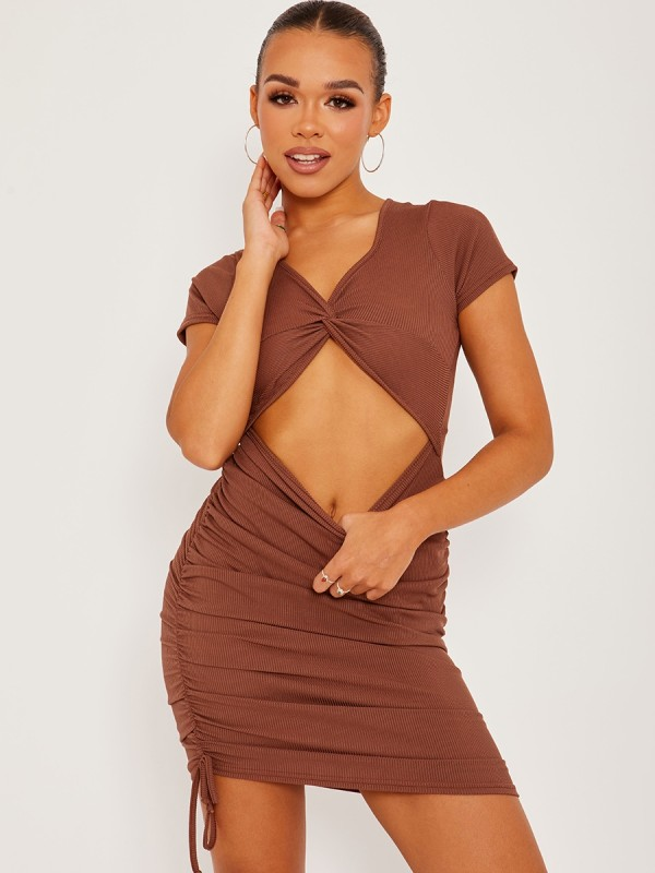 Cut Out Twist Front Ruched Ribbed Dress