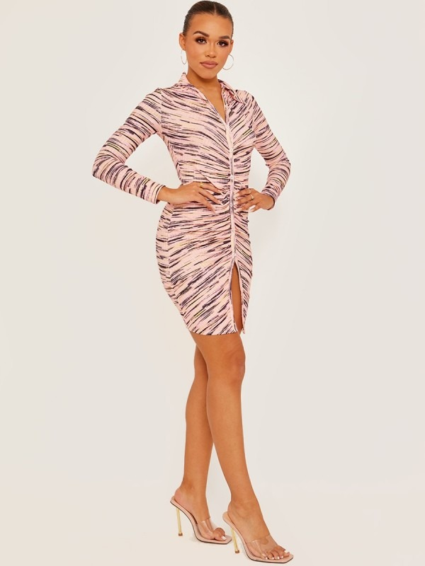 Button Fasten Front Multi Coloured Ruched Dress