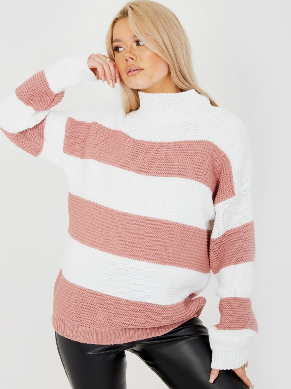 Funnel Neck Striped Knitted Jumper