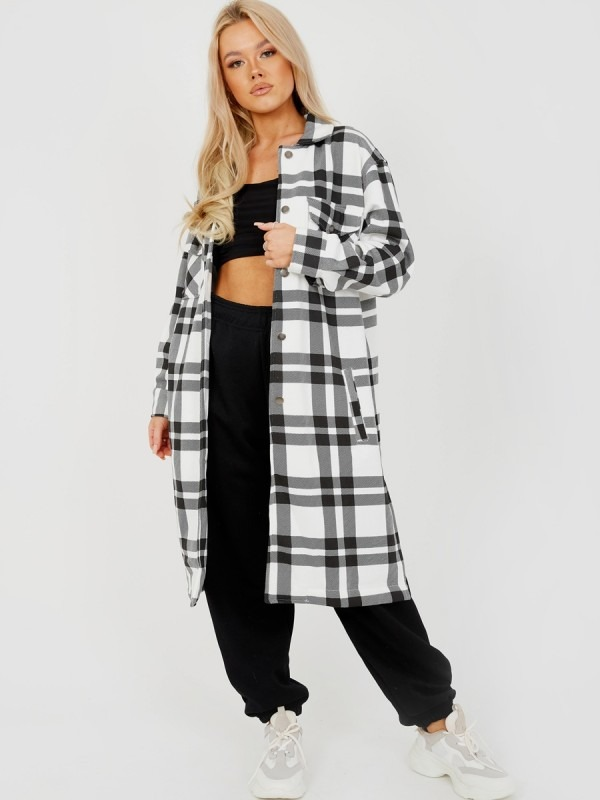 Longline Thick Colour Block Checked Shirt Jacket Shacket