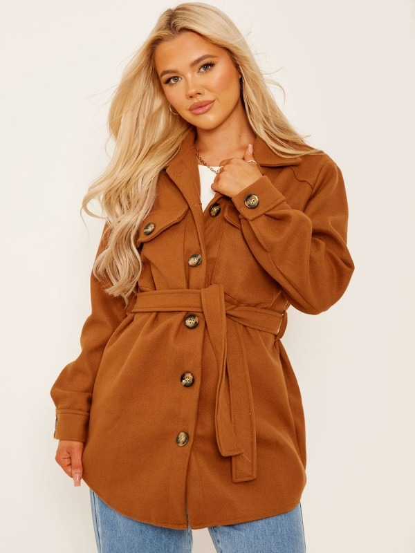 Oversized Thick Belted Shacket