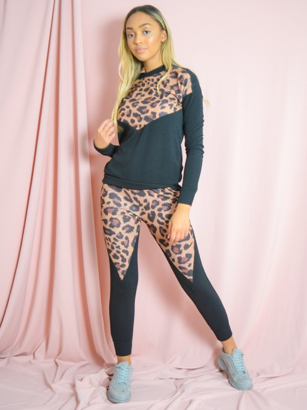 Leopard Print Detail Top & Trouser Co-ord