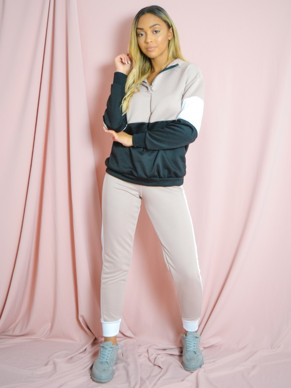 Contrast Colour Block Hoodie & Trouser Co-ord