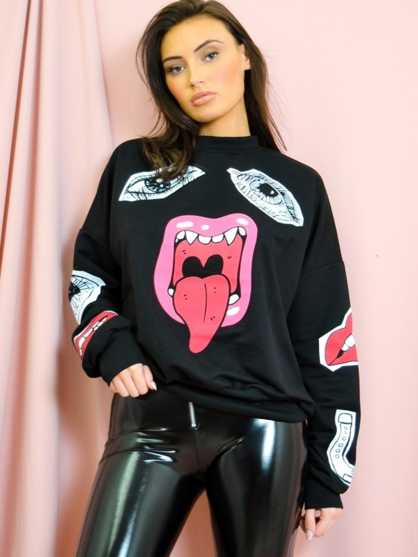 Olivia & Samira Monster Printed Sweatshirt Jumper