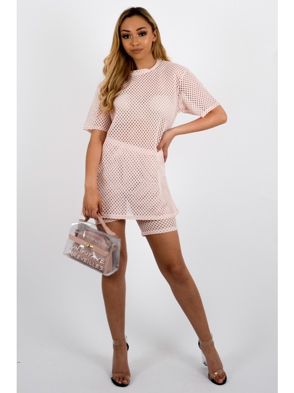 Fishnet Mesh Top & Shorts Co-ord