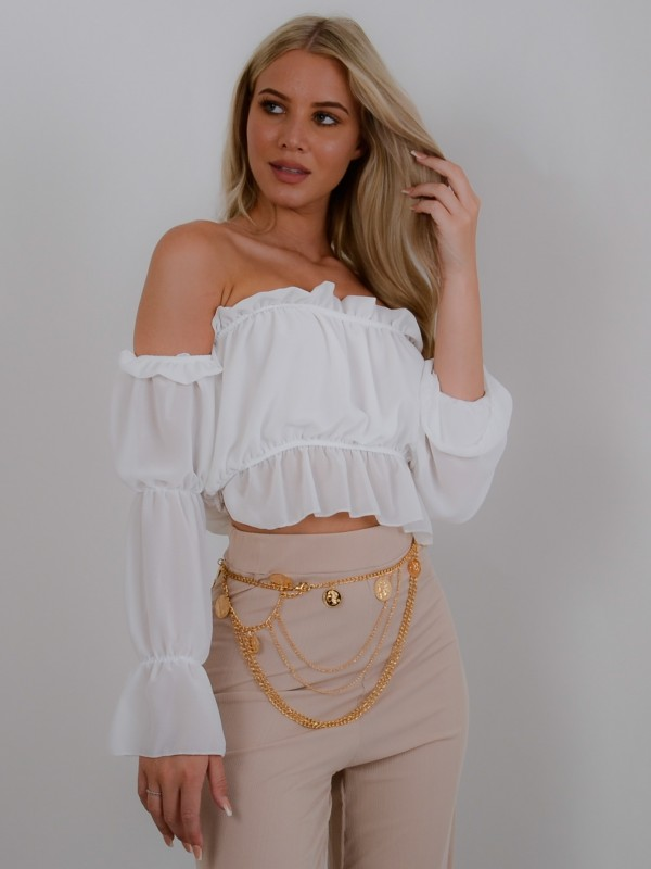 Off Shoulder Ruched Frill Crop Top