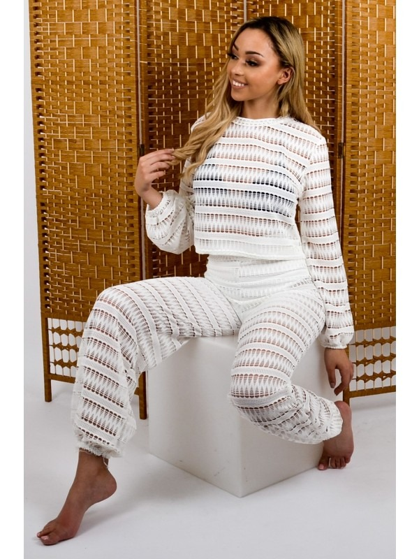 Cuffed Crochet Top & Trouser Co-ord