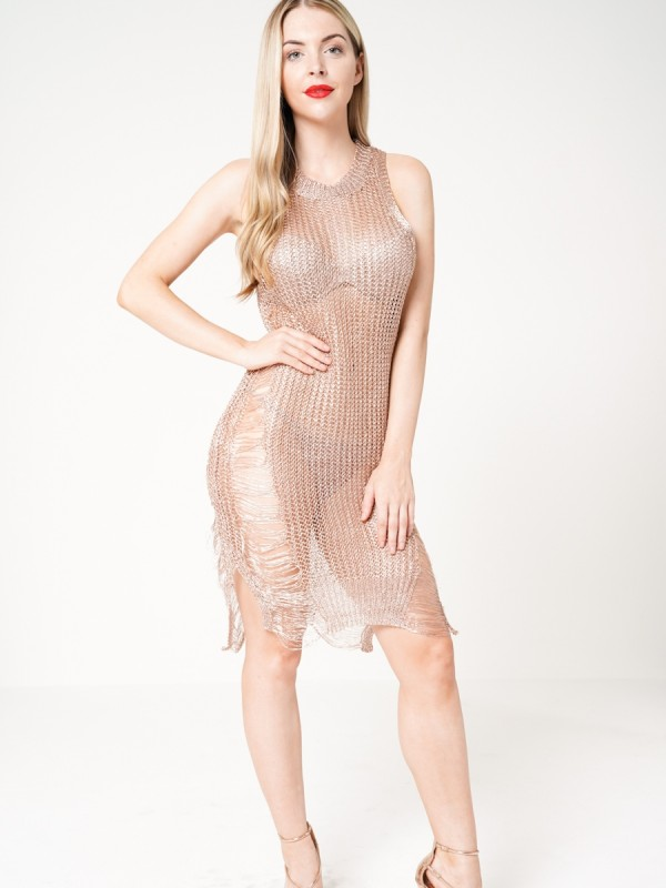 Distressed Metallic Knitted Dress