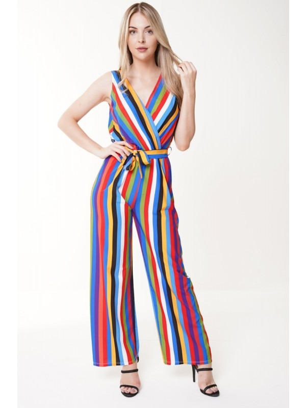 Wrap Over Rainbow Stripe Belted Jumpsuit