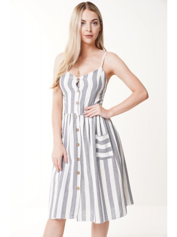 Striped Button Front Cami Dress