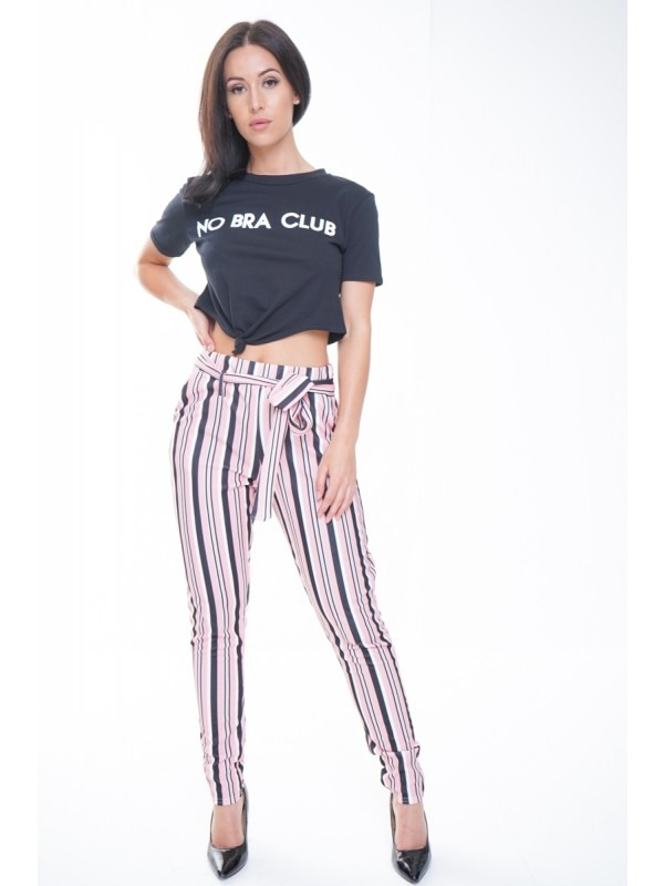 Striped Cigarette Fit Trousers With Belt