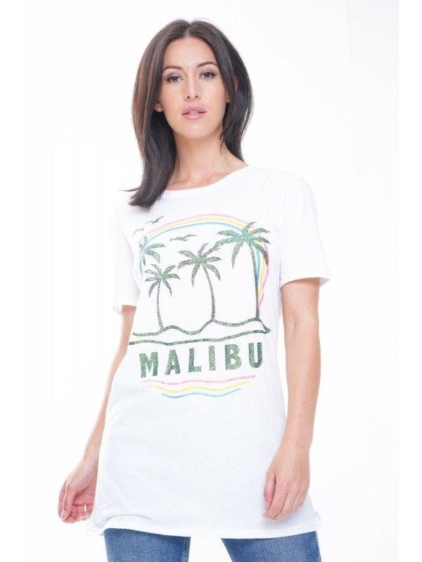 Malibu Graphic Glitter T-Shirt