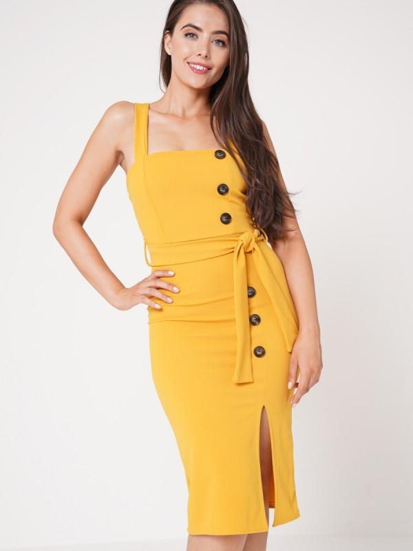 Celeb Olivia Button Detail Belted Midi Dress