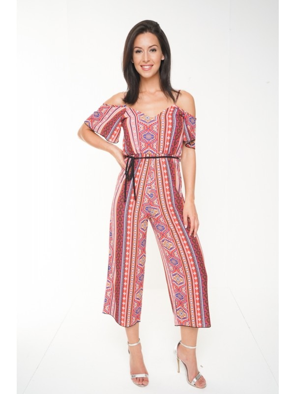 Paisley Print Cold Shoulder Culotte Jumpsuit