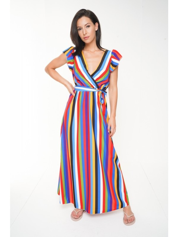 Wrap Front Rainbow Stripe Maxi Dress