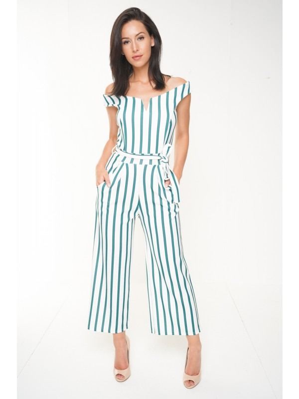 V-Bar Striped Bardot Culotte Jumpsuit