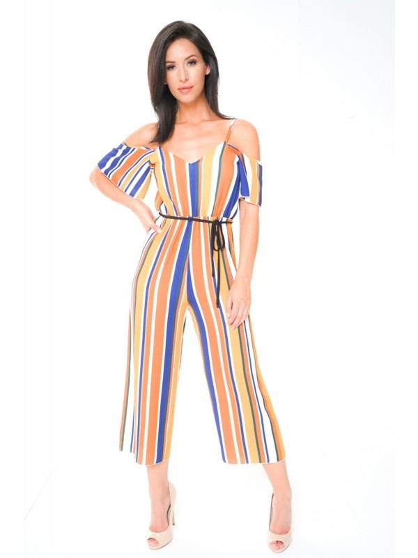 Multi Striped Cold Shoulder Culotte Jumpsuit