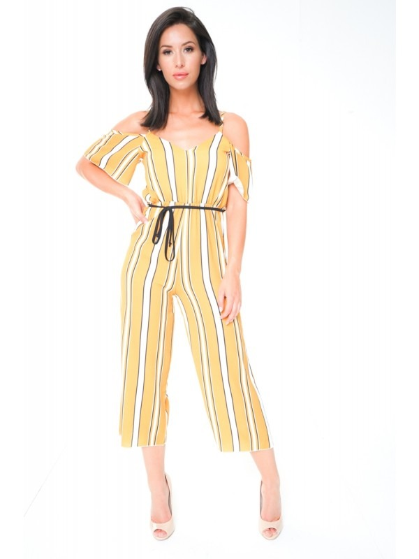 Striped Cold Shoulder Culotte Jumpsuit