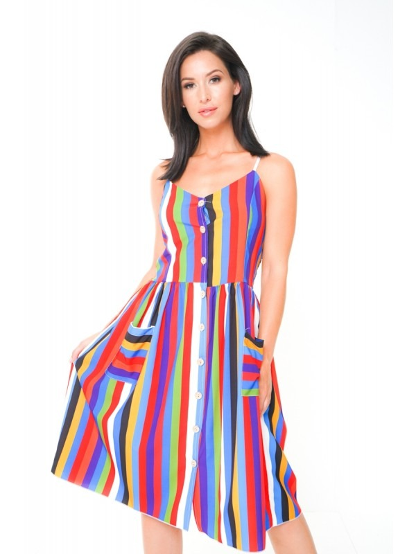 Rainbow Stripe Button Front Cami Dress