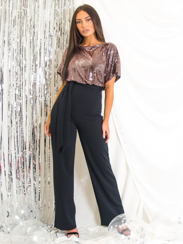 Balloon Waist Sequin Detail Belted Jumpsuit