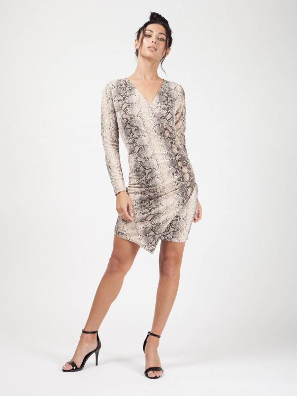 Snake Print Asymmetrical Wrap Dress